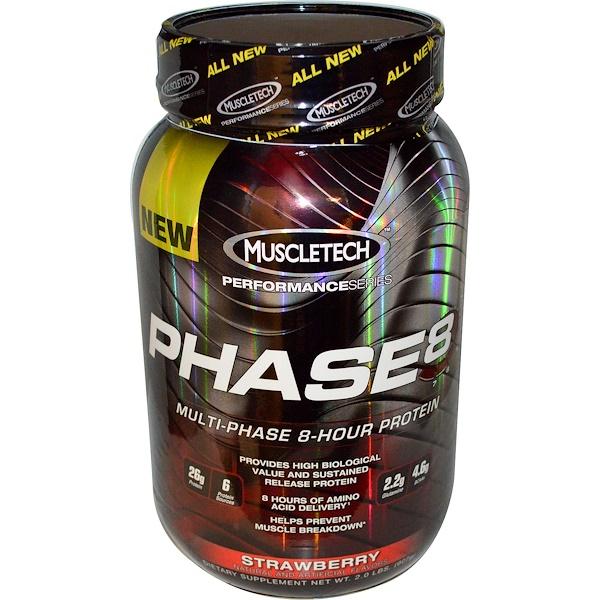 Muscletech, フェーズ8™, マルチ-フェーズ 8-アワー プロテイン, イチゴ, 2.0 ポンド (907 g) (Discontinued Item)