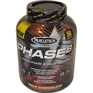 Muscletech, Performance Series, Phase8, proteína multietapa de 8 horas, chocolate con leche, 4.60 lbs (2.09 kg)
