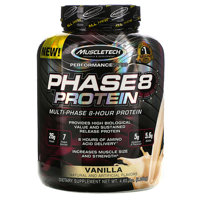Купить Muscletech Серия Performance, Phase8, многофазный 8-часовой белок, со вкусом ванили, 2, 09 кг (4, 60 фунта)
