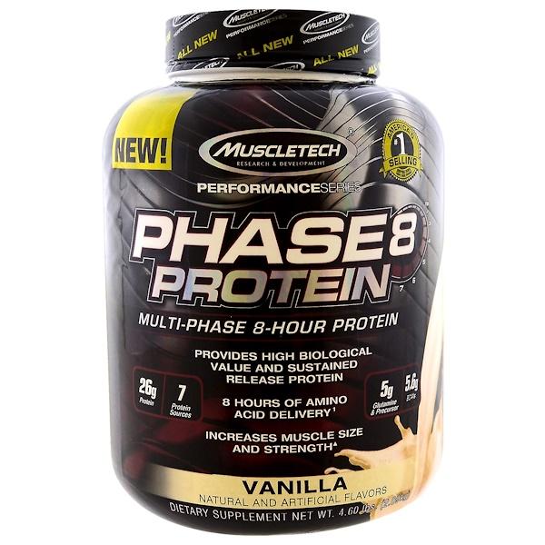 퍼포먼스 시리즈, Phase8, 멀티-페이즈 8-시간 단백질, 바닐라, 4.60 lbs (2.09 kg)
