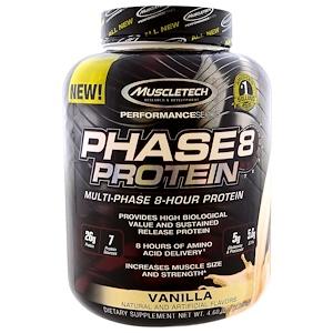 Muscletech, Серия Performance, Phase8, мультифазный протеин 8 часов, ваниль, 4.60 фунтов (2,09 кг)