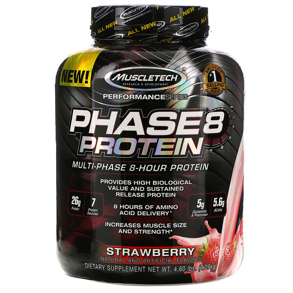 Performance Series, Phase8, Multi-Phase 8-Hour Protein, Strawberry, 4.60 lbs (2.09 kg)