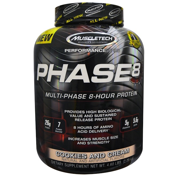 Muscletech, Performance Series, Phase8, Multi-Phase 8-Hour Protein, Cookies and Cream, 4.60 lbs (2.09 kg)