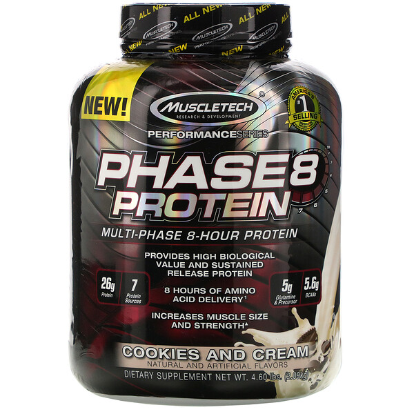 Performance Series, Phase8, Multi-Phase 8-Hour Protein, Cookies and Cream, 4.60 lbs (2.09 kg)