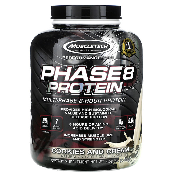 Performance Series, Phase8, Multi-Phase 8-Hour Protein, Cookies and Cream, 4.59 lbs (2.08 kg)