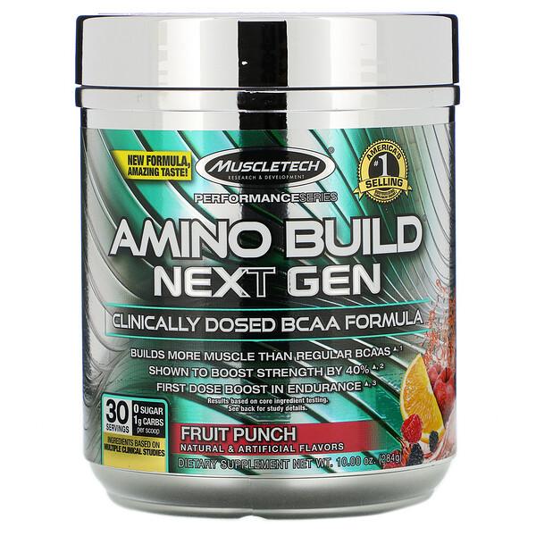Amino Build(アミノビルド)ネクストジェン、フルーツパンチ、284g(10オンス)