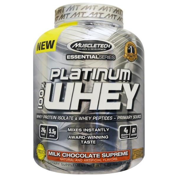 Muscletech, 100% Platinum Whey, Milk Chocolate Supreme, 5.03 lbs (2.28 kg) (Discontinued Item)