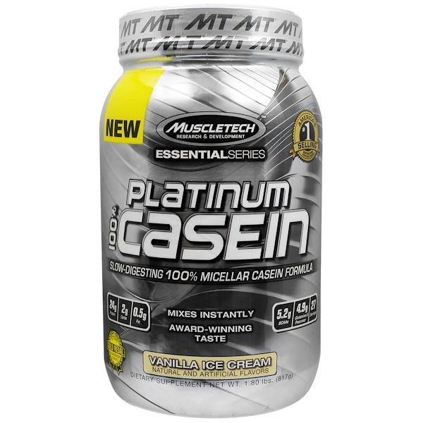Muscletech, Platinum 100% Casein, Vanilla Ice Cream, 1.80 lbs (817 g) (Discontinued Item)