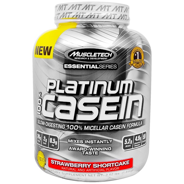 Muscletech, Platinum 100% Casein, Strawberry Shortcake, 3.62 lbs (1.64 kg) (Discontinued Item)