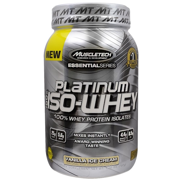 Muscletech, Platinum 100% Iso-Whey, Vanilla Ice Cream, 1.76 lbs (797 g) (Discontinued Item)