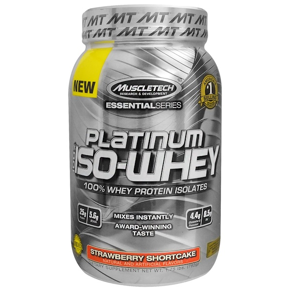 Muscletech, Platinum 100% Iso-Whey, Strawberry Shortcake, 1.75 lbs (792 g) (Discontinued Item)