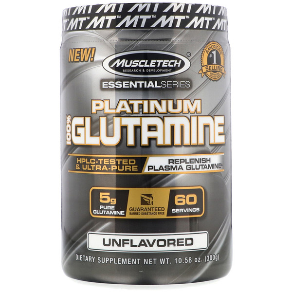 Muscletech, Essential Series, Platinum 100% Glutamine, 5 g, 10.58 oz (300 g)