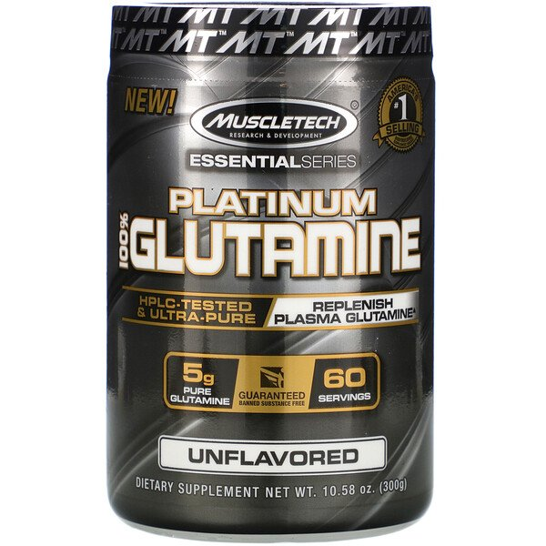 Essential Series, Platinum 100% Glutamine, Unflavored, 5 g, 10.58 oz (300 g)