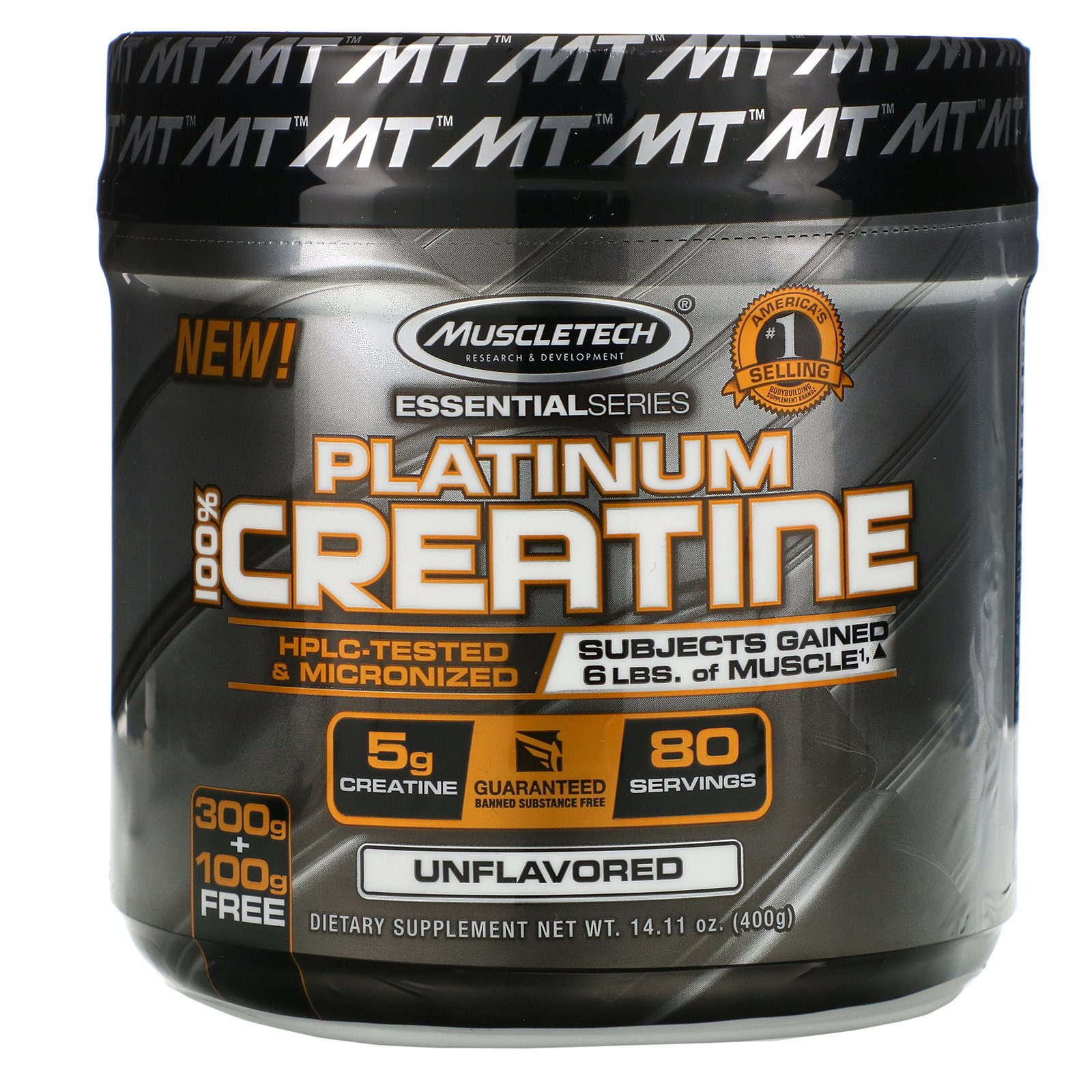 Muscletech, Essential Series, Platinum 100% Creatine, Unflavored ...