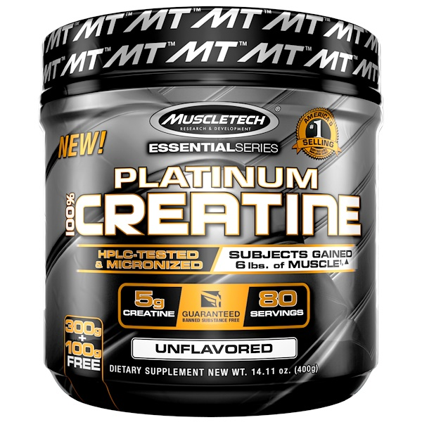 Essential Series, Platinum 100% Creatine, Unflavored, 14.11 oz (400 g)