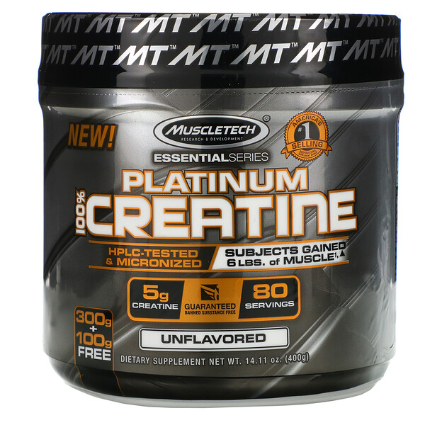 Muscletech, Essential Series, Platinum 100% Creatina, Sem Sabor, 400 g (14,11 oz)