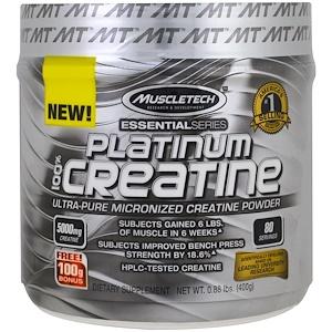 Muscletech, Essential Series, 100% микронизированный креатин Platinum, без запаха, 0,88 фунтов (400 г)