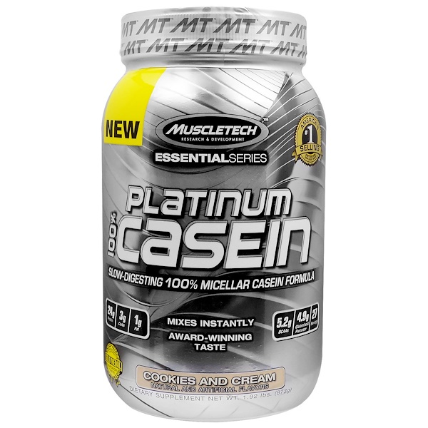 Muscletech, Platinum 100% Casein, Cookies and Cream, 1.92 lbs (873 g) (Discontinued Item)