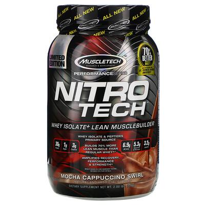 Nitro Tech, сывороточный изолят + рост сухой мышечной массы, вкус мокачино, 907 г (2 фунта)
