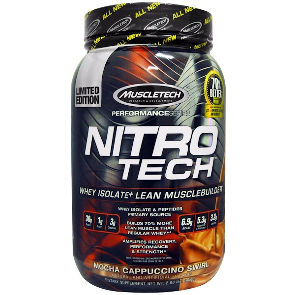Muscletech, Nitro Tech  Whey Isolate + Lean Musclebuilder, Mocha Cappuccino Swirl, 2.00 lbs (907 g)