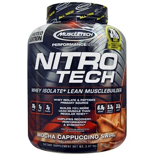Muscletech, NitroTech, 분리 유청+ 순수 근육빌더, 모카 카푸치노 스월, 3.97 lbs (1.80 kg)