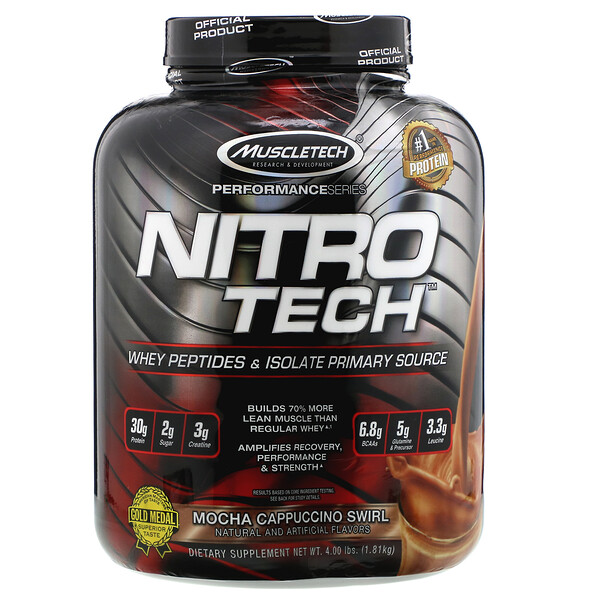 NitroTech, Whey Peptides & Isolate Primary Source, Mocha Cappuccino Swirl, 4.00 lbs (1.81 kg)