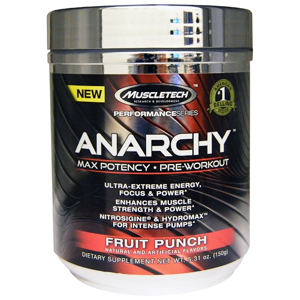Muscletech, Anarchy, Max Potency, Pre-Workout, Fruit Punch, 5.31 oz (150 g) (Discontinued Item)