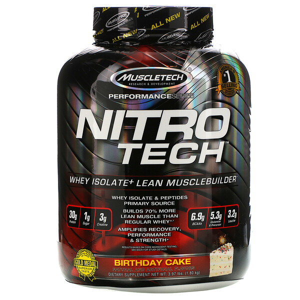 Nitro Tech, Whey Isolate+ Lean Musclebuilder, Birthday Cake, 3.97 lbs (1.80 kg)