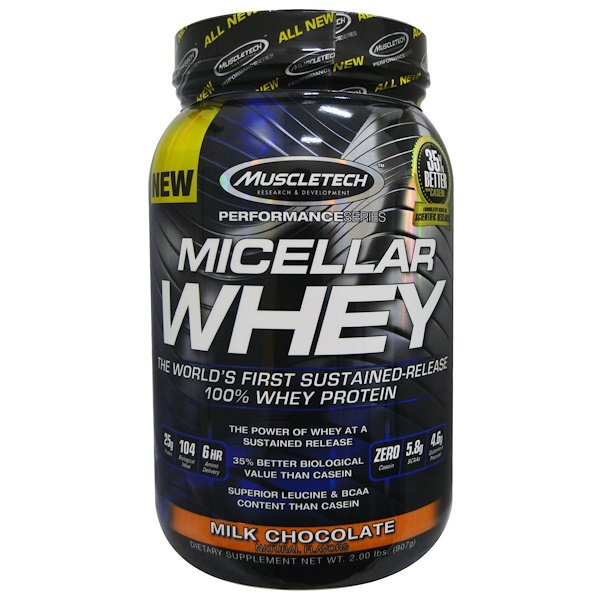 Muscletech, Micellar Whey, Sustained-Release, Milk Chocolate, 2.00 lbs (907 g) (Discontinued Item)