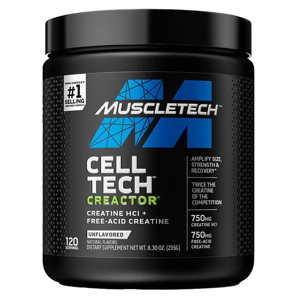 Muscletech, Cell Tech CREACTOR, Creatine HCI + Free-Acid Creatine, Unflavored, 8.30 oz (235 g)