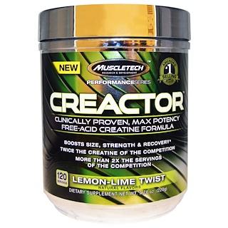Muscletech, Creactor、クレアチンフォーミュラ、レモンライムツイスト、7.76 oz (220 g)