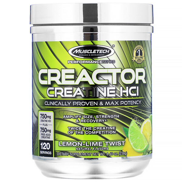 Muscletech, Creactor, Creatine HCI, Lemon-Lime Twist, 8.40 oz (238 g)