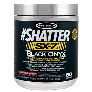 Muscletech, #Shatter, SX-7, Black Onyx, Pre-Workout, Fruit Punch Explosion, 12.15 oz (345 g)