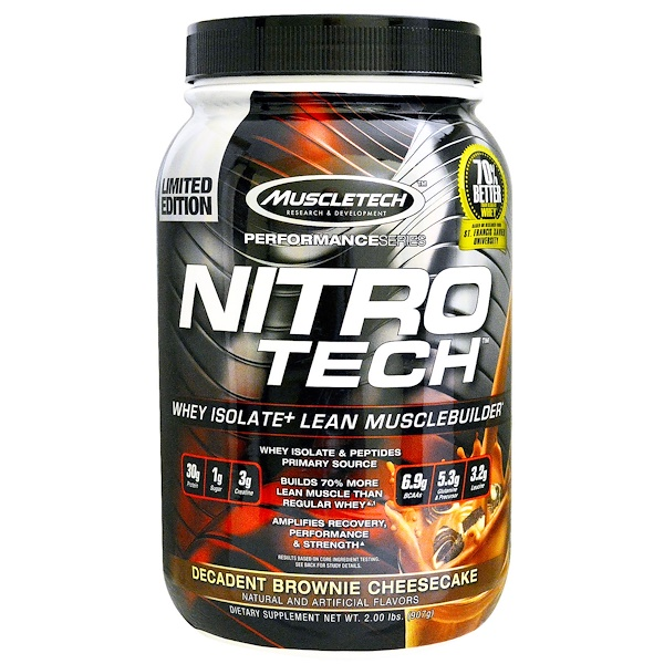 Muscletech, Nitro Tech, Whey Isolate + Lean Musclebuilder, Decadent Brownie Cheesecake, 2.00 lbs (907 g) (Discontinued Item)