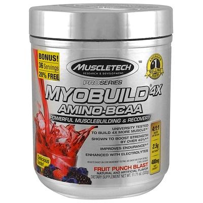 MyoBuild 4X Amino-BCAA, взрывной вкус фруктового пунша, 332г (11,71фунта)