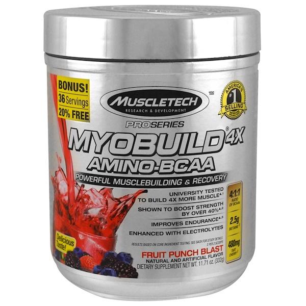 MyoBuild 4X Amino-BCAA، مزيج عصير الفواكه، 11.71 أونصة (332 جم)