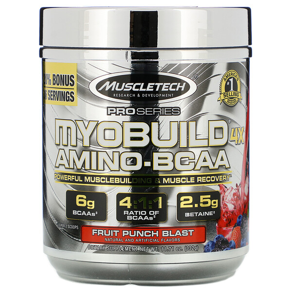 MyoBuild 4X Amino-BCAA, со вкусом фруктового пунша, 332г (11,71фунта)