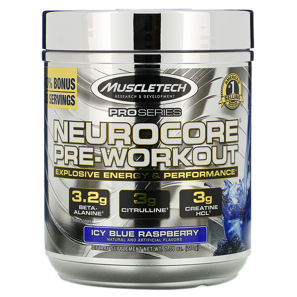 Muscletech, Pro Series, Neurocore Pre-Workout, Icy Blue Raspberry, 7.39 oz (210 g)