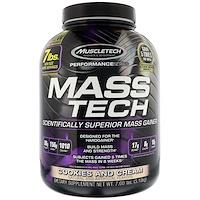Mass-Tech, усовершенствованный гейнер для роста мышечной массы, печенье и сливки, 7 фунтов (3,18 кг) - фото