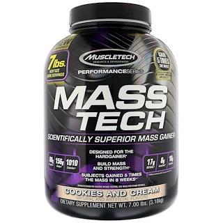 Muscletech, Mass-Tech, усовершенствованный гейнер для роста мышечной массы, печенье и сливки, 7 фунтов (3,18 кг)