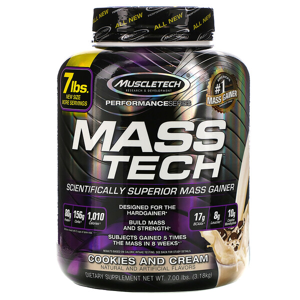 Mass-Tech, Scientifically Superior Mass Gainer, Cookies and Cream, 7.00 lb (3.18 kg)
