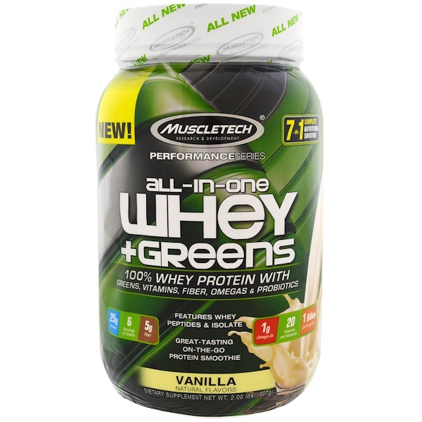Muscletech, Performance Series, All-In-One Whey + Greens, Vanilla, 2.00 lbs (907 g) (Discontinued Item)