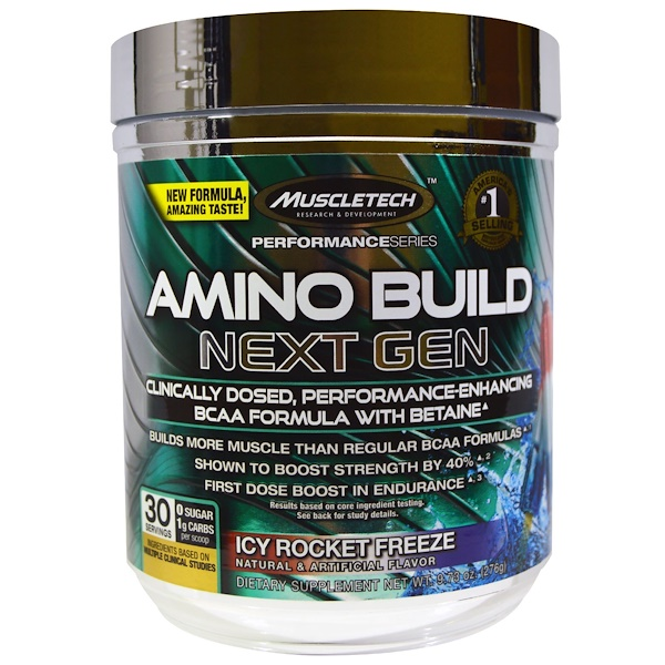Muscletech, Amino Build Next Gen BCAA Formula With Betaine Icy Rocket Freeze, 9、73 oz (276 g)
