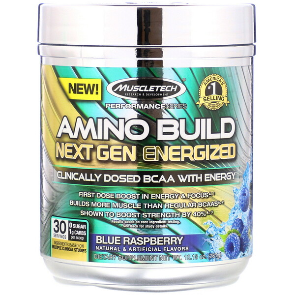 Muscletech, Amino Build Next Gen Energized, Blue Raspberry, 10.13 oz (287 g) (Discontinued Item)