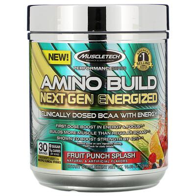 Фото - Amino Build Next Gen, аминокислоты нового поколения для повышения энергии, фруктовый пунш, 284г (10,03унции) натиск энергии сила предтренировка фруктовый пунш 12 17 унции 345 г
