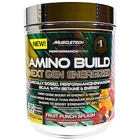 Amino Build Next Gen BCAA Formula With Betaine Energized, Fruit Punch Splash, 9.86 oz (280 g) - фото