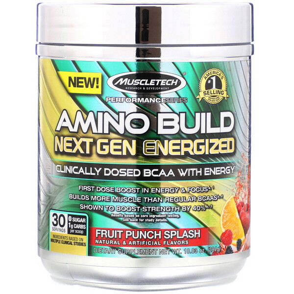 Amino Build Next Gen Energized, Fruit Punch Splash, 10.03 oz (284 g)