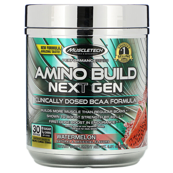 Muscletech, Amino Build Next Gen، بطيخ، 9.91 أونصة (281 جم)