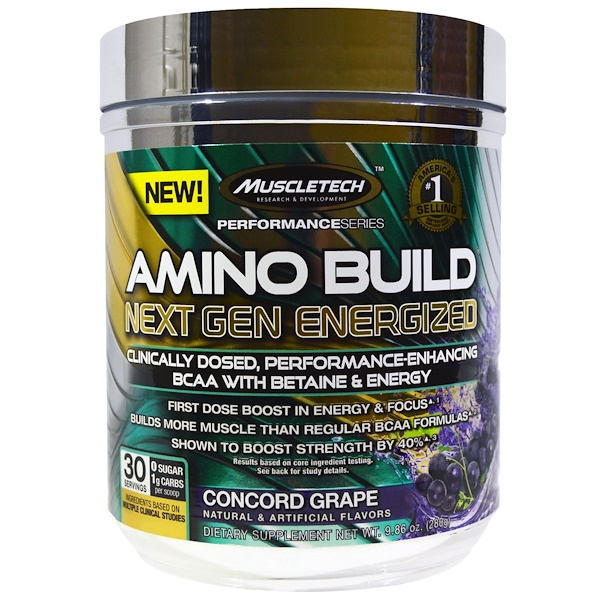 Muscletech, Amino Build Next Gen Energized, Concord Grape, 9.86 oz (280 g) (Discontinued Item)