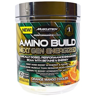Muscletech, Amino Build Next Gen BCAA Formula With Betaine Energized, Orange Mango Cooler, 9.92 oz (281 g)